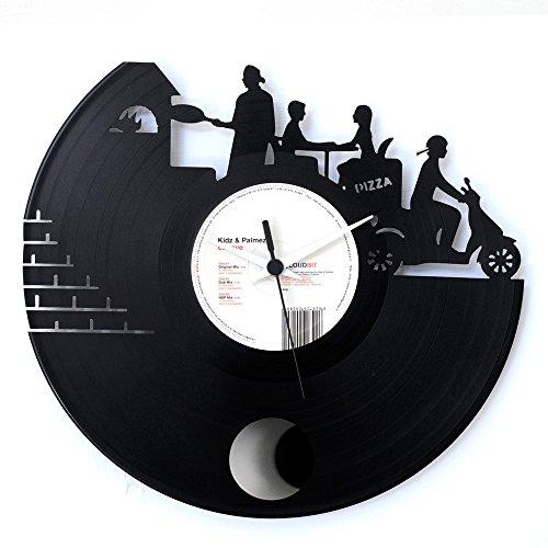 Pizzeria cadeau-idee housewarming winkel vinyl zwart vinylus origineel horloge met slinger