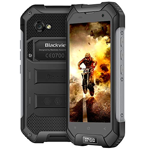 Blackview BV6000S Moviles Resistentes, 4500mAh 16GB ROM+2GB RAM,4.7''HD Pantalla IP68 Phone,8+2MP Camera,Quad-Core 1.5GHz Rugged Phone,Dual SIM Moviles Rugged WiFi/GPS/NFC/Bluetooth Negro