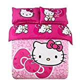 Warm Embrace Kids Bedding Teen Comforter Set Girls Children Bed in a Bag Hello Kitty Pink,Duvet Cover and Pillowcase and Flat Sheet and Duvet (White),Full Queen Size,5 Piece