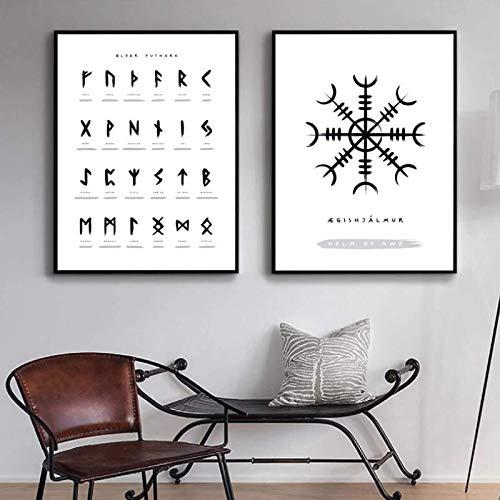 HHLSS Canvas Artwork 2x40x60cm ohne Rahmen Runes Poster und Drucke Viking Scandinavian Old Norse Elder Futhark Runen Wandkunst Bilder Wohnzimmer Dekor