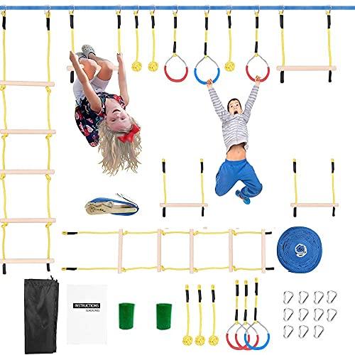 TOPQSC Ninja Warrior - Set di attrezzi da allenamento per bambini, 50 FT Slackline Ninja Warrior, per bambini, anelli ninja, scimmie, scala per corda da arrampicata