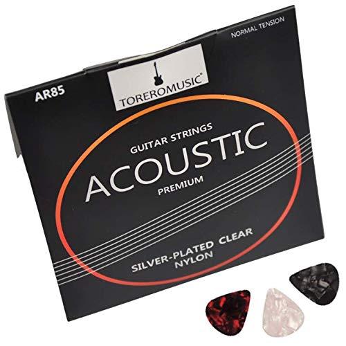 Gitarrensaiten Konzertgitarre. Premium Nylon-Saiten für Akustikgitarre und Klassische Gitarre (6-Saiten-Set), versilbert (D4, A5, E6), inklusive 3 Plektren