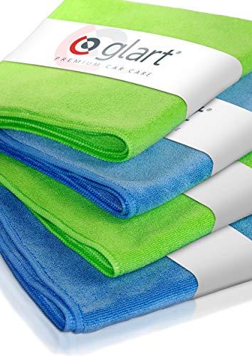 Glart 4448 4er Set superweiche Mikrofasertücher 2 Stück blau 40 x 40 cm und 2 Stück grün 40 x 40 cm