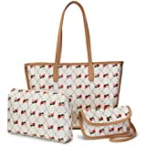 Purses and Handbags for Women Fashion Tote Bags with Large inner Pouch and Coin Purse 3pcs Set (Beige)