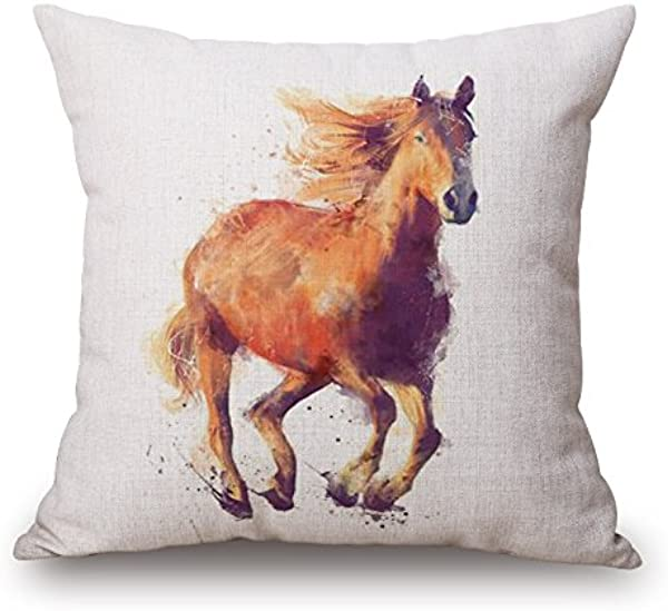 Elliot Yew Nordic Simple Watercolor Painting Animals Throw Pillow Case Personalized Cushion Cover Home Office Decorative Square Pillowcase 18 X 18 Inches Running Horse