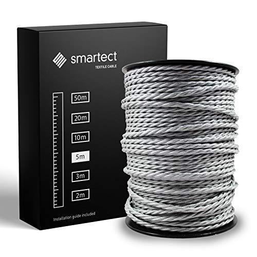 smartect Cavo Elettrico Tessuto - Grigio - 5 Metri Cavo tessile - Tripolare (3 x 0.75mm²) - Cavo Elettrico Rivestito per Fai da Te