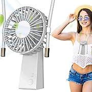 Baozun USB Fan USB Desk Fan Handheld Fan Small Table Fan Hand Free Fan Neck Fan Mini Fan with 90°Rotation Outdoor Travel Fan