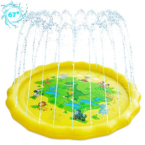 LEEHUR Sprinkler for Kids Splash Play Mat 67x67inch Outside Outdoor Summer Water Toys for 1-12 Years Old Wading Learning Pad Swimming Party Favors Gift for Children Toddlers Boys Girls Dinosaur
