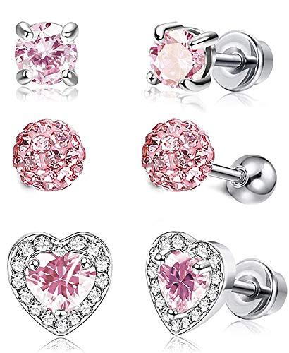 CASSIECA 4 Pares Pendientes Rosa Oro de Circonitas Cúbicas para Mujer Niñas Adolescentes Pendientes Corazón Shamballa Bolas de Cristal Ear Studs Pendientes de Acero Inoxidable Hipoalergeniños