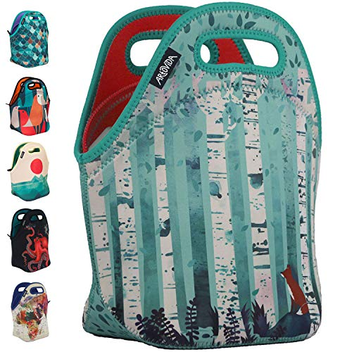 Art of Lunch by ARTOVIDA Insulated Neoprene Lunch Bag for Women, Men and Kids - Reusable Lunch Tote for Work and School - Washable - Design by Michelle Li Bothe (Germany) - Birches