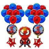 smileh Decorazioni di Compleanno Spiderman Palloncini 25PCS Spider Man Compleanno Palloncini in Alluminio per Bambini Decorazione per Feste
