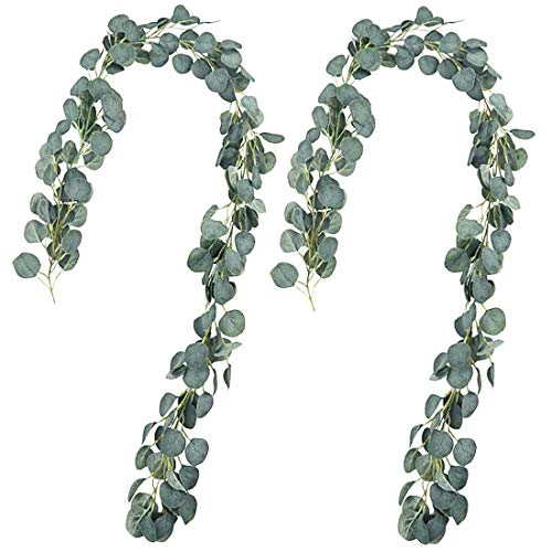 HDCooL 2 Strands 6.5ft Artificial Eucalyptus Garland Vines, Faux Silk Eucalyptus Wreath Handmade Greenery Garland Leaves, for Wedding Backdrop Arch Wall Indoor Outdoor Table Party Home Room Decor