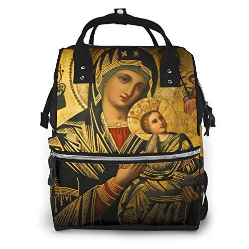 Virgin Mary Portrait Waterproof Mummy Backpack Best Gift School Backpack School Bag Custom Printed Large Capacity Tote Bag Diaper Bag Backpack For Shopping, Vocation, Party