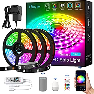 Olafus 15M Alexa LED Strip Lights with Remote, 50FT RGB Smart WiFi Lighting Strips with 450 Units 5050 LED, 30LED/M Dimmable Colour Changing Tape Light, Music Synch, Use with Alexa, Google Assistant