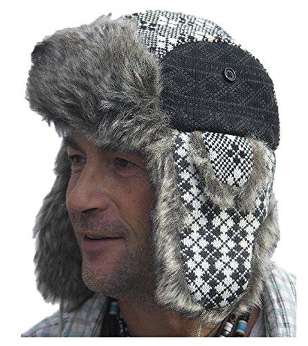 Thorness Style Classique Russe Ushanka - Chapeau de Trappeur Noir Taille 57 cm