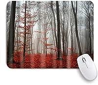 KAPANOU マウスパッド、灰色がかった赤い森のカエデの葉 おしゃれ 耐久性が良い 滑り止めゴム底 ゲーミングなど適用 マウス 用ノートブックコンピュータマウスマット