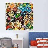 ganlanshu Personaje de Dibujos Animados de Graffiti Pintado sobre Lienzo para decoración del hogar póster decoración de Arte de Pared,Pintura sin Marco,50X50cm
