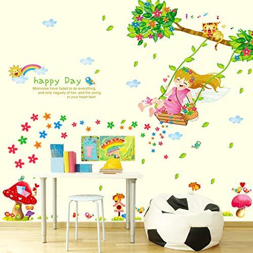 Columpio niña dibujo infantil habitación dormitorio decoración fondo impermeable pared pegatina-50 * 70 cm