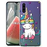 OKZone Coque Huawei P30 [avec Film de Protection écran HD], Ultra Mince Motif de Créatif Claires TPU Souple Coque, Transparent Housse Etui pour Huawei P30 (Licorne)