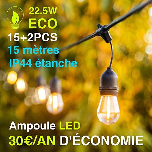 Lichtsnoer voor buiten, 15 + 2 leds, 15 m, S14, slinger, waterdicht, voor Kerstmis, taverne tuin, party, energie-efficiëntieklasse A+