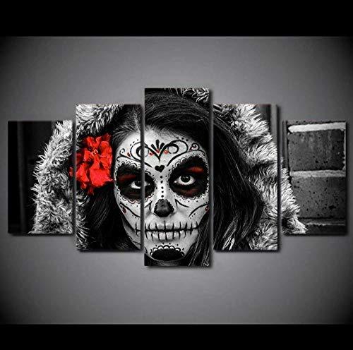 HJIAPO Impresión Artística 5 Piezas Dia De Los Muertos Lienzo De Decoración De Pared Imagen 150 * 80Cm