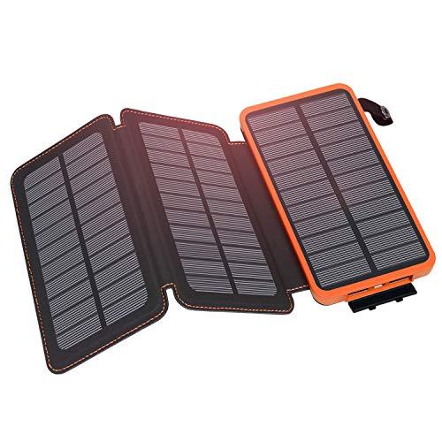 Hiluckey Chargeur Solaire 24000mAh Portable Power Bank avec Deux 2.1A Ports Imperméable Batterie Externe pour Tablets, Smartphones