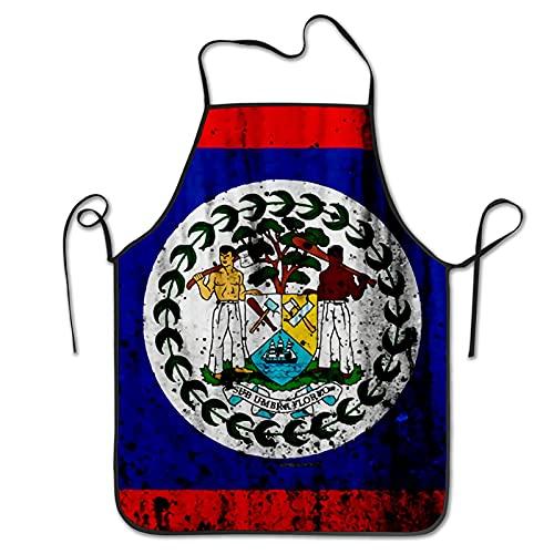 NIUPEE Latzschürze ohne Tasche Belize Flagge lustig süß Schürzen Kochen Küche BBQ Schürzen für Männer Frauen Koch Schwarz