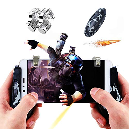 mobile video games Mobile Game Controller Upgrade Camouflage Joysticks Gamepad Pack for Android iOS (Adjustable Transparent Button)
