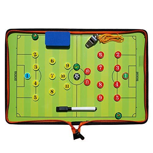 Fußball Taktiktafel Tragbar Trainer Taktikmappe Coachen Trainer-Mappe Fussball Coach-Board mit Magneten, Schiedsrichter Pfeifen, Boardmarker, Schwamm