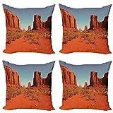 ABAKUHAUS Desierto Set de 4 Fundas para Cojín, Día Caliente del Valle del Monumento, Estampado Digital en Ambos Lados y Cremallera, 40 cm x 40 cm, Naranja Oscuro Azul pálido