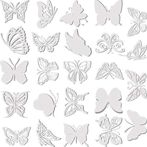 Outus 24 Stücke Große Größe Schmetterling Anti-Kollision Fenster Aufkleber Durchscheinend Abstaubt Alarm Vogel Aufkleber Fenster Abziehbilder Verhindern Vogelschläge an Türen und Fenstern Glas Dekor