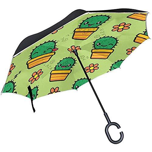 Mike-Shop Paraguas invertido Cactus Emojis Paraguas Reverso del Coche Protección Plegable a Prueba de Viento