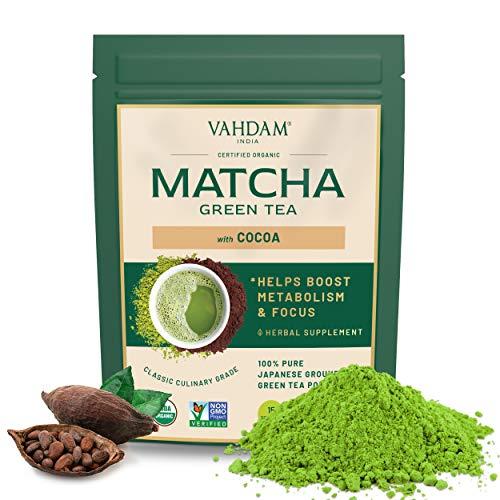 VAHDAM, Kakao-Matcha Grüntee | 100 % BIO REINER JAPANISCHER MATCHA mit reichhaltigem Kakao | Köstlicher kalorienarmer Matcha | Keto freundlich, Vegan | Verbessert den Fokus & lindert den Stress