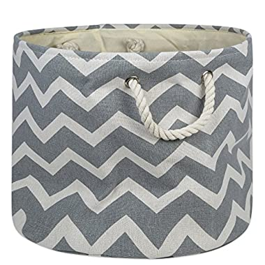 DII Collapsible Polyester Storage Basket or Bin with Durable Cotton Handles, Home Organizer Solution for Office, Bedroom, Closet, Toys, Laundry (Large Round – 15x16), Gray Chevron