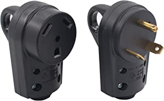 XtremeAmazing 30Amp RV Male and Female Receptacle Plug Electrical Adapter Set with Ergonomic Grip Handle 55245