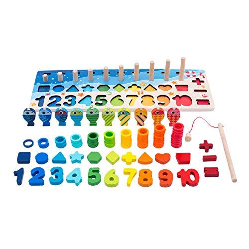 F Fityle di legno Stacking Giocattoli Montessori Bambini Numero Shape Sorter di Corrispondenza Giocattolo Gioco di Pesca