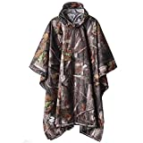 SaphiRose Hooded Rain Poncho Waterproof Raincoat Jacket for Men Women Adults (A-Forest Camouflage (3 in1)) rain jacket for men Dec, 2020