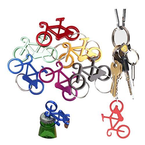 Apribottiglie portachiavi per biciclette Portachiavi personalizzato Cavatappi in metallo Portachiavi personalizzato Portachiavi con funzione apribottiglie Portachiavi in colori misti(12 pezzi)