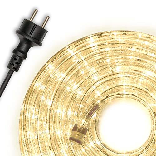 Nipach GmbH 20m 480 LED Lichterschlauch Lichtschlauch warm-weiß – Innen- und Außenbereich – energiesparende Leucht-Dekoration für Garten Fest Weihnachten Hochzeit Gesamtlänge ca. 21,50 m