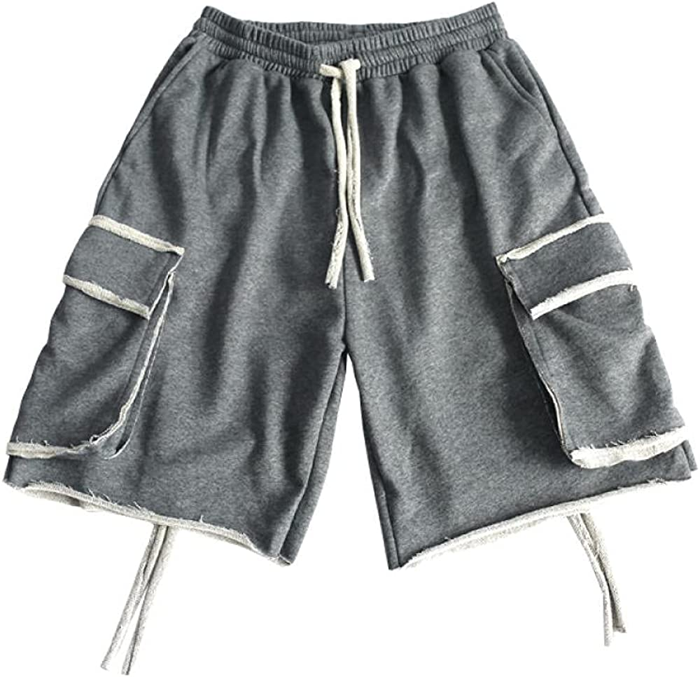 KKLLHSH Streetwear Mens Cargo Shorts Men Cotton Casual Shorts Male Loose Short Cargo Pants Shorts