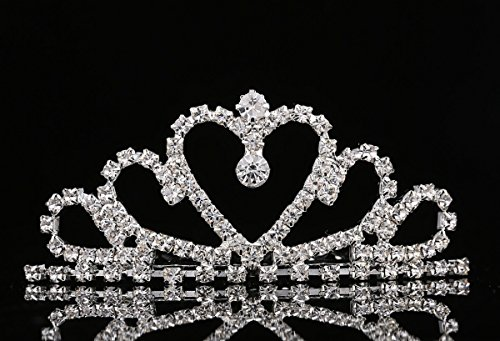 Lovelyshop Mini Heart Rhinestone Tiara for Wedding Bride Prom Birthday Pegeant Prinecess Party-1 Pack