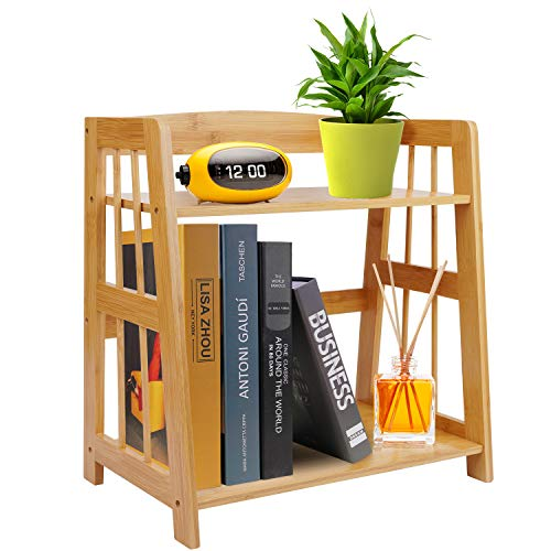 Bamboo Desk Storage Organizer, Countertop Bookcase Kitchen Storage Spice Rack, Plant Flower Stand Rack Bathroom Storage Tower, Desktop Display Shelf Rack Multipurpose Bookshelf for Office Kitchen