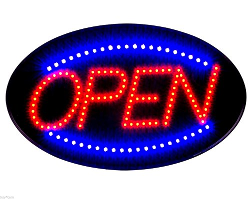 Jumbo 24' x 13' LED Neon Sign with Motion -'Open' (Red/Blue) B30