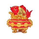 xilinshop Decoración de la Suerte Fengshui Riqueza arowana Peces Afortunado Peces Estatua estatuilla decoración Tesoro...