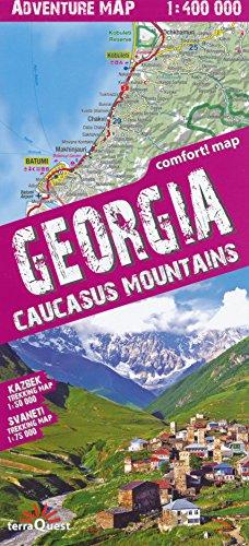 Georgien (Kaukasus) 1:400.000 Erlebniskarte & Swanetien, Kazbegi, laminiert, GPS-kompatibel