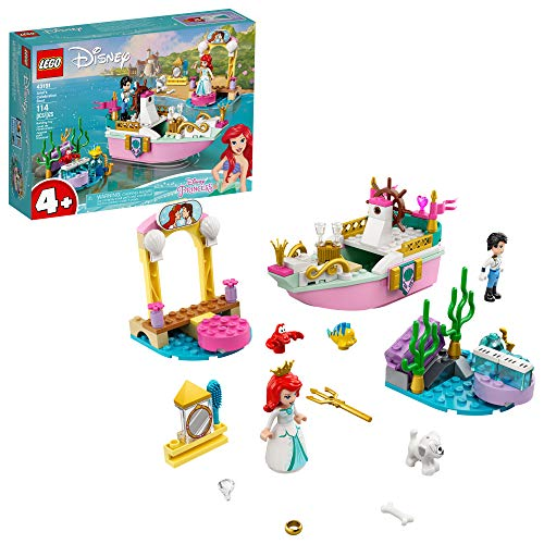 LEGO Disney Ariel's Celebration Boat 43191; Creative Building Kit That Makes a Fun Gift for Kids, New 2021 (114 Pieces)