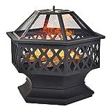 Yeekg Feuerstelle mit Grillrost, Hexagonal Garten Terrasse Metall Feuerkorb 3 in 1 Feuerstelle im Freien, Feuerschale mit Funkenschutz Fire Pit für BBQ, Schürhaken Feuerkörbe