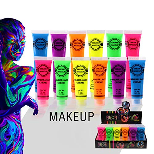 6 Pcs Set Face & Body Paint Neon Glow in the Dark for Rave Festival Party
