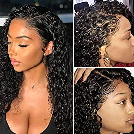 Glueless Lace Front Human Hair Wigs For Black Women 150% Density Brazilian Water Wave Human Hair Wigs with Baby Hair Pre…