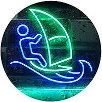 Born to Surf Windsurf Sport Dual Color LED看板 ネオンプレート サイン 標識 緑色 + 青色 300 x 210mm st6s32-i3169-gb